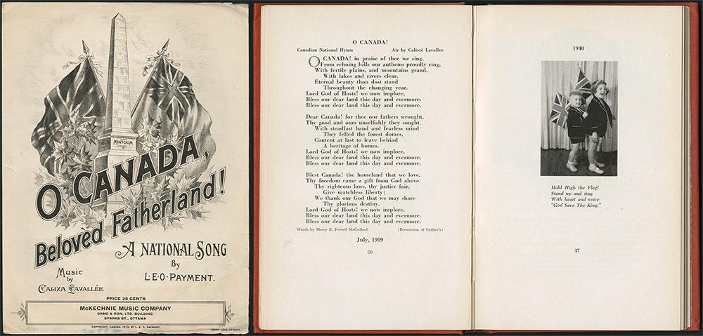 Ô Canada, notre chère patrie! ‒ Hymne national Paroles de L.E.O. Payment, musique de Calixa Lavallée, v. 1912