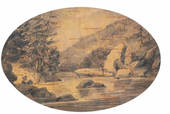 Au bord du lac GloucesterPool (sur la rivière Severn), en Ontario; une étiquette fixée sur le papier de protection porte la mention «drawings of Mrs Simcoe's on the bark of the birch tree in Canada» (dessin de madame Simcoe sur l'écorce d'un bouleau du Canada); plume et lavis gris sur écorce de bouleau; forme ovale; 10,2cm X 15,2cm