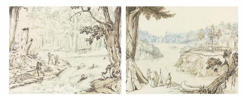 Chasse au chevreuil à un portage – Canada, 1831; La maison d'un pionnier canadien; le premier tableau comprend un titre et une date: «Deer shooting at a Portage – Canada 31»; l'auteur a signé les deux tableaux avec ses initiales; titre et date sur le cadre; crayon à mine, sépia et lavis bleu sur papier; 29,2cm X 36,1cm