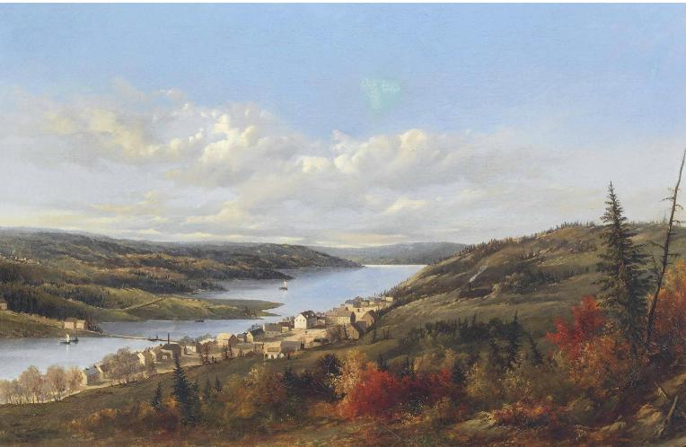 Les champs aurifères de Waverly, en Nouvelle-Écosse; huile sur canevas; 46,3cm X 73cm