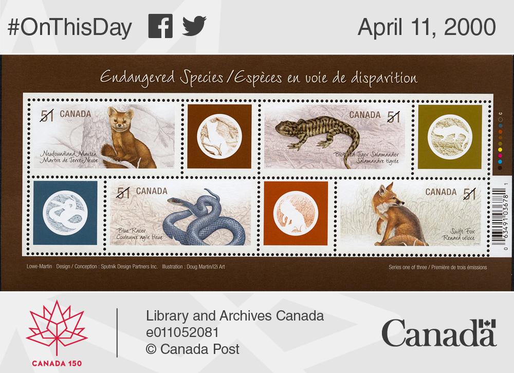 Postage stamp depicting endangered species in Canada, 2006.