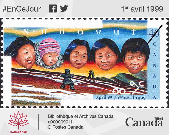 Timbre de 46 cents soulignant la création du territoire du Nunavut, le 1er avril 1999.