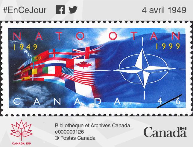 Timbre-poste commémorant les 50 ans d'association du Canada avec l'OTAN.
