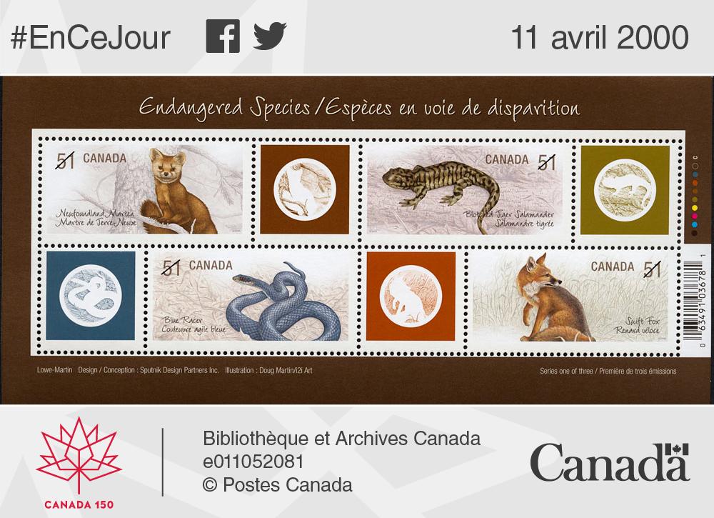 Timbre-poste illustrant des espèces en voie de disparition au Canada, 2006.