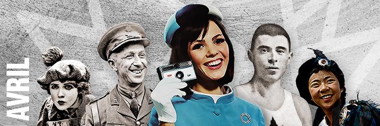 De gauche à droite : Mary Pickford, Georges P. Vanier, hôtesse d'Expo 67 (nom inconnu), Édouard Fabre, femme portant un tartan.