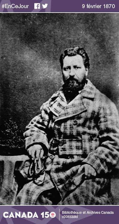 Photo de Louis Riel prise en 1865, alors qu'il habitait à Montréal. Après des études au Séminaire de Montréal, il abandonna la vocation d'entrer dans les ordres pour aller travailler dans un cabinet d'avocats.