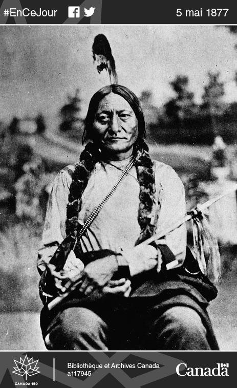 Le chef sioux Sitting Bull à Winnipeg, au Manitoba, vers 1885.