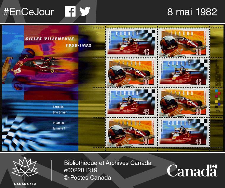 Timbres commémoratifs de Gilles Villeneuve, 1950-1982.