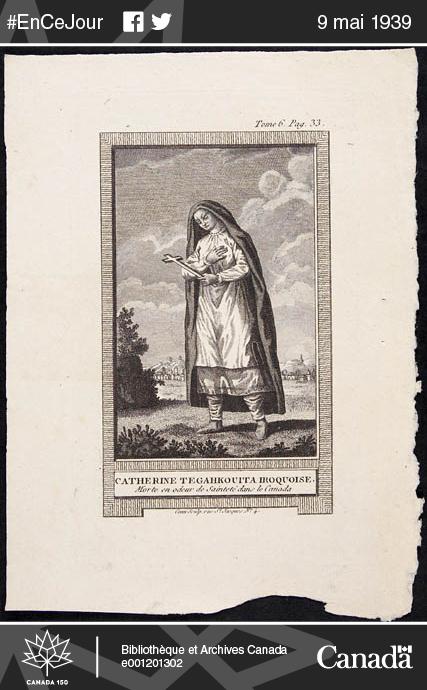 Image de Kateri Tekakwitha, une Mohawk qui a vécu au 17e siècle.