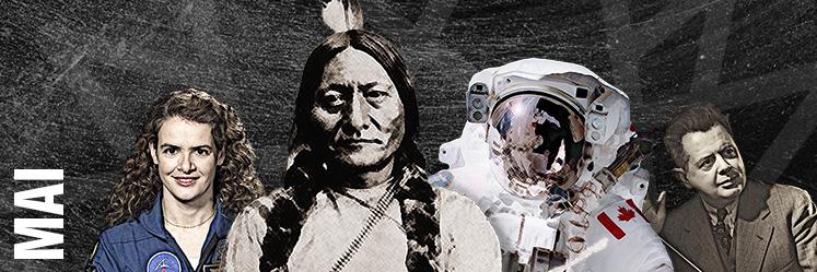 De gauche à droite : Julie Payette, Sitting Bull, Chris Hadfield et Sir Ernest MacMillan