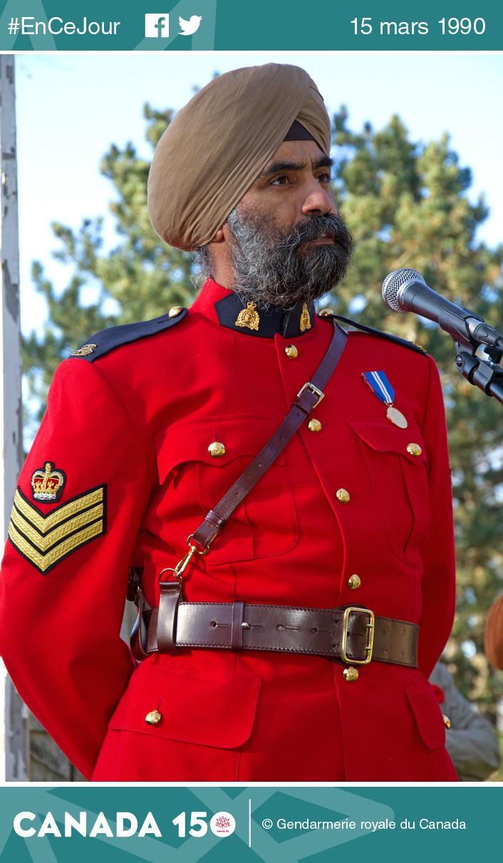 Photo du sergent Baltej Singh Dhillon, premier agent de la GRC à porter le turban sikh.