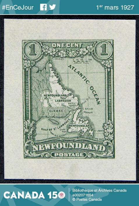 Timbre d'un cent sur lequel figure une carte de Terre-Neuve et du Labrador, 1928