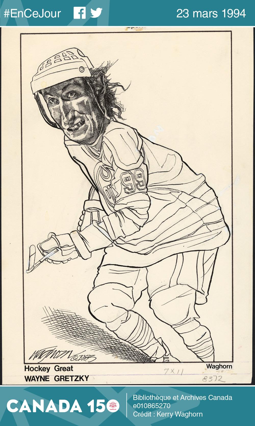 Caricature de Wayne Gretzky jouant au hockey, 1983.