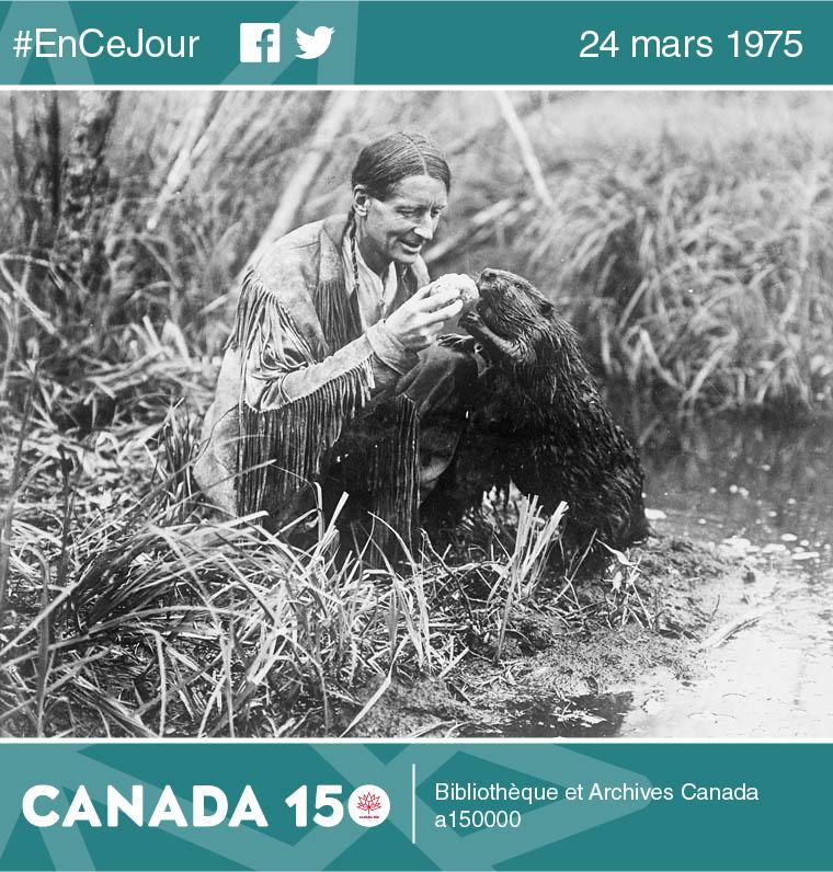 Photo de Grey Owl (Archibald Belaney) nourrissant un castor (probablement « Jellyroll »), lac Ajawan, parc national de Prince Albert, en Saskatchewan, 1932.