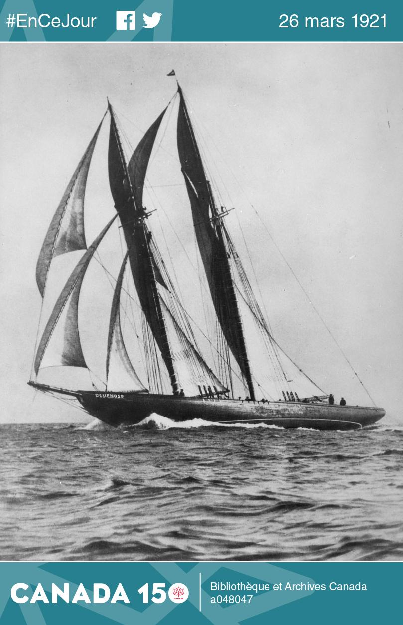 Photo du premier Bluenose qui, après avoir bravé les mers du monde, s'est échoué au large d'Haïti dans les années 1940.