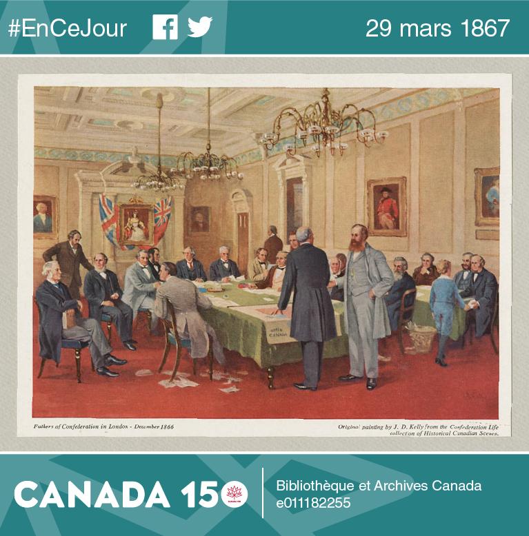 Image illustrant les pères de la Confédération canadienne lors de la conférence de Londres (de décembre 1866 à 1867) qui mena à l'adoption, par le parlement de Londres, de l'Acte de l'Amérique du Nord britannique.