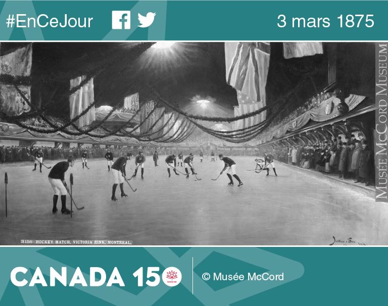 Un match de hockey à la patinoire Victoria, Montréal, Québec, photographie composite, 1893.
