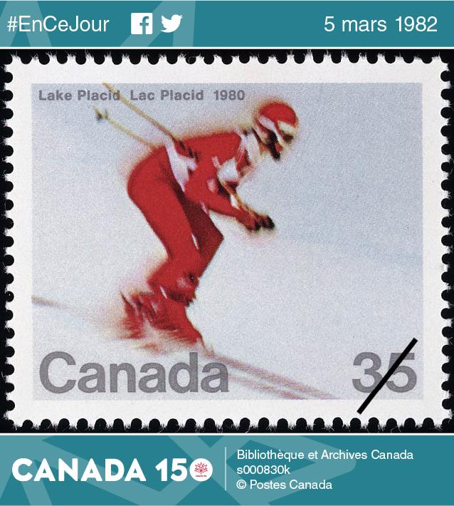 Timbre représentant la descente en ski alpin aux Jeux olympiques de Lake Placid, 1980.