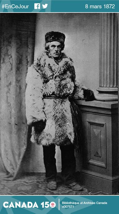 Cornelius Krieghoff habillé à la canadienne, entre 1850 et 1872.
