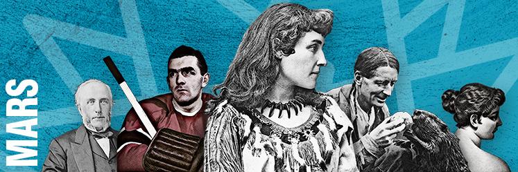 De gauche à droite : George Brown, Maurice Richard, Emily Pauline Johnson (Tekahionwake), Grey Owl (Archibald Belaney), Emily Carr