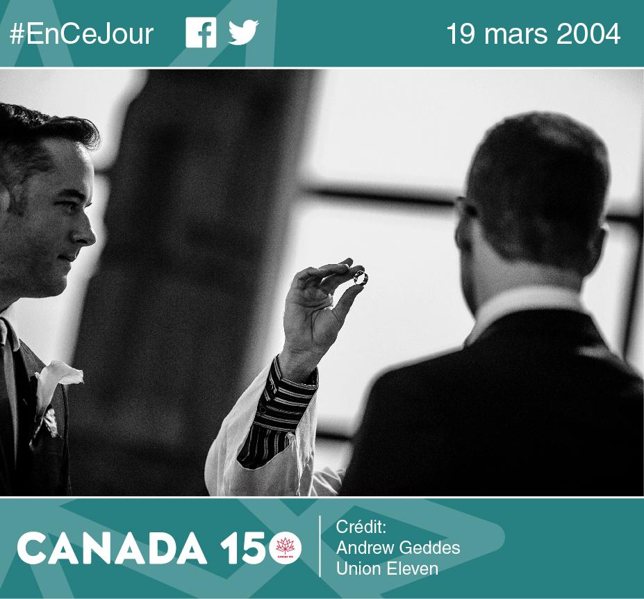 Photo de Steve Pageau et Dave Sabourin lors de leur cérémonie de mariage. Musée canadien de l'histoire, 8 juin 2013.